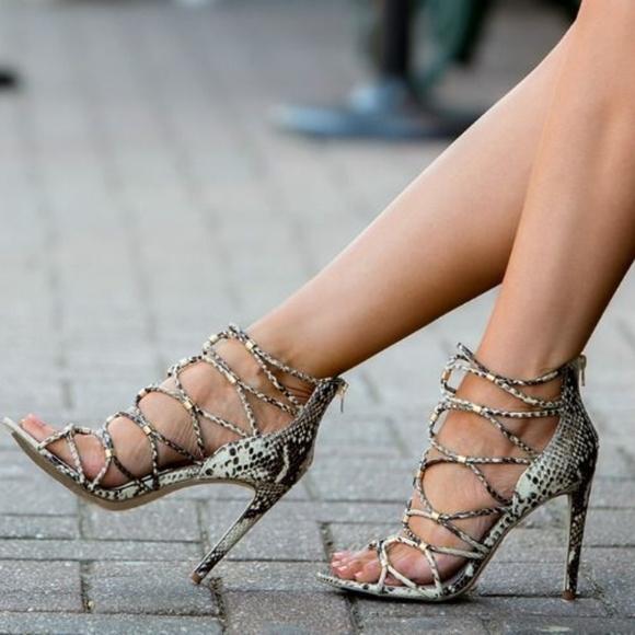 Aldo snake print strappy heels